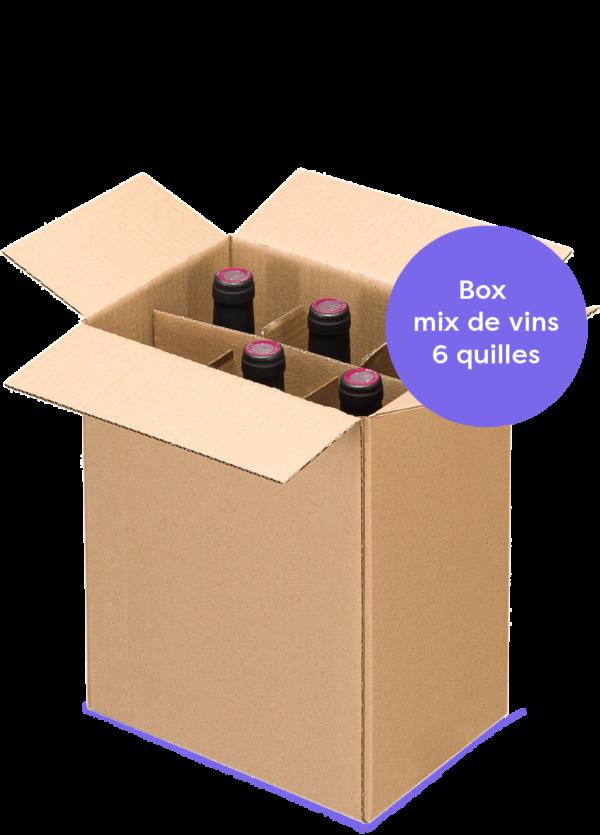 boxe découverte 6 bouteilles de vins naturels mélange rouge, blanc, orange, bulle